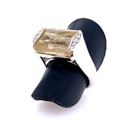 Mark Patterson Sterling Silver Diamond And Rutilated Quartz Ring