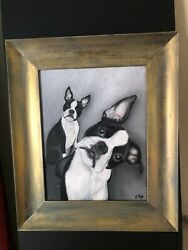 Original Acrylic Painting of Boston Terriers by Jeanne Rye 19x16