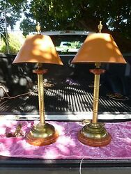 Pair Of 70's Bamboo Brass Lamps W Reverse Tortoise Shell Shades A La Palm Beach