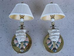 Whimsical Electrified Carved Wood Sconces In Form Of A Pair Hands W Shades