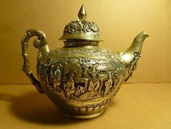 Chinese Ching Dynasty Silver Teapot With Nobleman And Dragons