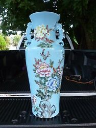 Monumental Republic Period Chinese Robin's Egg Blue Vase W Floral And Bird Decor