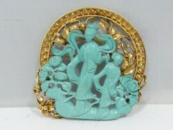 Large Mid 20th C Chinese 14k Gold And Turquoise Pin 15.4 Dwt