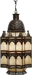 Lantern Arabian Middle Eastern 3-light Bronze Frosted Gold Glass Recycled Ti