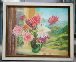 Rare Listed Karl Rittmann Bright Colorful Floral Still Life Signed Dated Framed