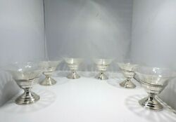 Set Of Six Vintage Sterling Silver And Etched Crystal Compotes