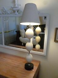 Magnificent Late 20th C 3 Ostrich Egg And Chrome Lamp With Ostrich Skin Base
