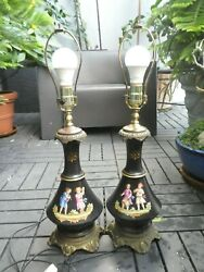 Antique European Black Glass Lamps With Children Playing Instruments - A Pair