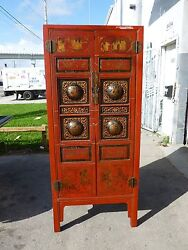 Stunning Vintage Fire Red Chinese Two Door Cabinet W Painted Scenes James Mont