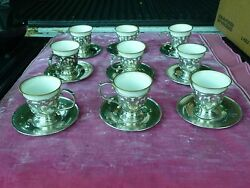 9 Sterling Silver Cups And Saucers W Lenox Porcelain Inserts 24.66 Troy Oz