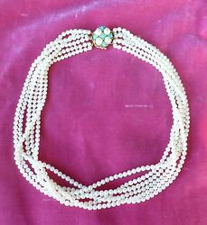 Vintage Best Quality 6 Strand Pearl Necklace With Hallmarked 14 K Gold Clasp