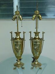 Pair Neoclassical French Victorian Napoleon 3 Lamps W Exaggerated Handles