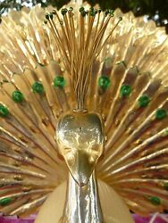 Rare 70's Fantastically Whimsical Italian Brass And Lacquer Peacock Lamp