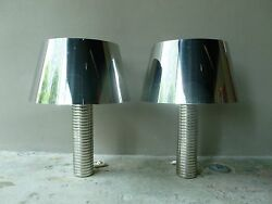 Large Towering Futuristic 70's Chrome Steel Lamps With Chromed Steel Shades