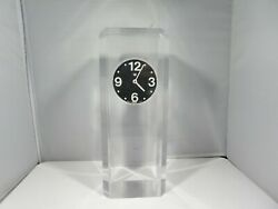 Tall 1960and039s Ritz Italora 2 Jewel N Battery Lucite Table Clock