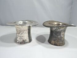 2 Art Deco Reed And Barton Sterling Silver Top Hats 102 Dwt