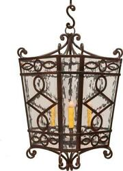 Infinity Lantern 4-light Clear Bronze Gold Glass Forged Iron Satco Flicker