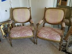Stunning Antique Pair French Louis 16th Style Bergere Chairs W Painted Finish