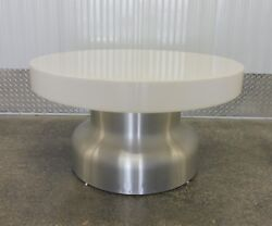 Incredible 70and039s Interior Lit Aluminum And Plastic Circular Mushroom Coffee Table