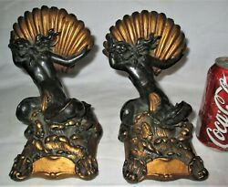 Antique Bronze Clad Nautical Nude Sea Shell Mermaid Lady Art Sculpture Bookends