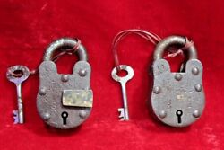 2 Pc. Iron Brass Lock And Key Old Antique Vintage Rare Collectible Bc-100