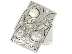 Antique Art Deco 0.81ct Diamond And Pearl 14k White Gold Dress Ring