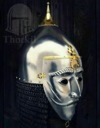 Medieval Asian Armor Helmet With Face Plate And Chainmail Helmet Sca Larp 16ga