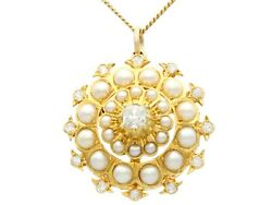 Seed Pearl And 1.16ct Diamond 15ct Yellow Gold Pendant / Brooch Antique 1900s