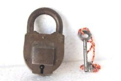 Brass Lock And Key Old Vintage Iron Antique Collectible Pg-39
