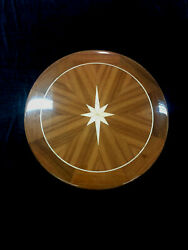 28 Round Teak Yacht/boat/rv Table High Gloss Finish W/maple Star Free Shipping