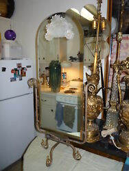 Unusual French Art Deco Wrought Iron Cheval Vanity Table Mirror