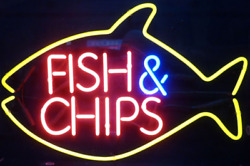 Fish Chips Seafood 17x14 Neon Sign Lamp Light Beer With Dimmer