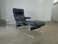 70and039s Saporiti Leather Chrome And Steel Lounge Chair And Ottoman