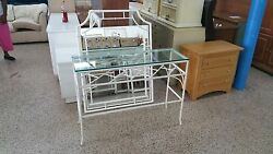 Elegant Polychrome Faux Bamboo Chinese Chippendale Tole Console And Mirror Wow - P