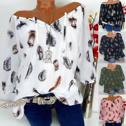 Womens Short Sleeve V Neck T Shirt Boho Floral Loose Tunic Blouse Tops Plus Size $12.59