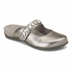 Vionic Womens Rest Jenelle Metallic Pewter Leather Comfort Mule $39.99