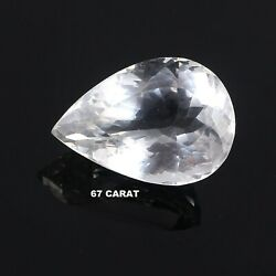 67 Ct 100 Natural Transparent White Crystal Faceted Pear Cabochon Gemstone