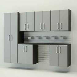 Flow Wall 8pcs Cabinet Set Organization Garage Storage WhiteSilver NEW