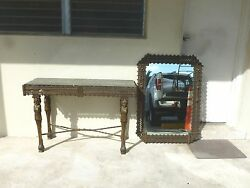 Incredible 1920and039s French Empire Style Wrought Iron Console And Mirror