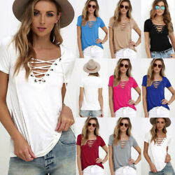 Women Summer V Neck Short Sleeve T Shirt Casual Tunic Beach Solid Blouse Top Tee $11.40