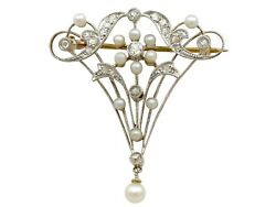 Antique 0.23ct Diamond And Pearl 15carat Yellow Gold Brooch Belle Andeacutepoque