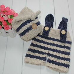 Infant Newborn Baby Boys Girls Clothes Crochet Knit Had + Pants Overalls Outfits $8.99