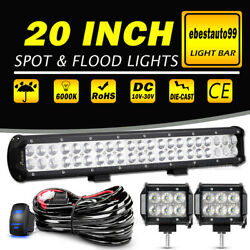 20 Inch 1200w Led Light Bar Spot Flood Combo+ 4 Pods Offroad For Jeep Truck Suv