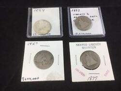 Seated Liberty Silver Quarter Lot Of 4 1853 1854 1857 1877