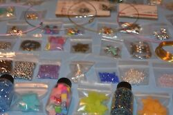 Huge Lot Beads/jewelry Making Supplies 50 And039bagsand039 100 New - Unique Lots +xtras