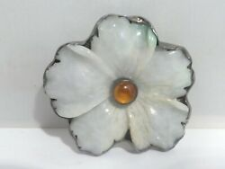 Superb Amy Kahn Russell Carved Jade And Amber Pendant Pin