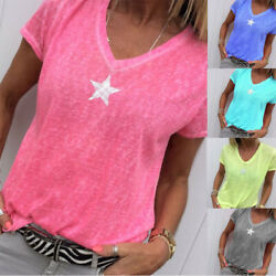 Summer Women Solid T Shirt V-Neck Short Sleeves Tops Loose Casual Blouse $7.25