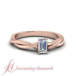 3/4 Carat Emerald Cut Lab Diamond Braided Solitaire Engagement Ring In Rose Gold