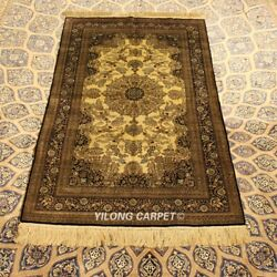 Yilong 3and039x5and039 Hand-knotted Classic Silk Carpet High Density Tapestry Rug P035h