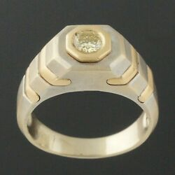 Solid 14k Two Tone Gold And .33 Ct Fancy Yellow Diamond Gentleman's Estate Ring